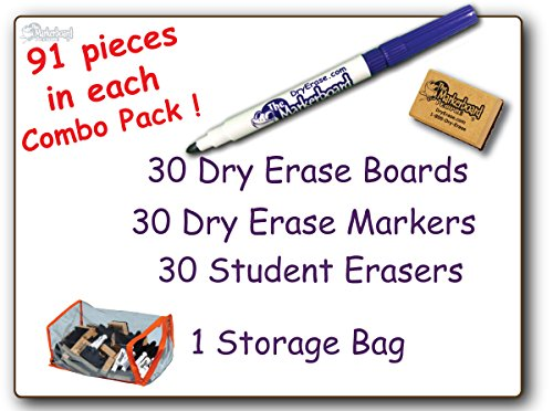 (30 Student Blank Dry Erase Boards Combo Pack Double Sided, with Dry Erase Boards, Markers & Student Erasers, MC0912-30, by The Markerboard People)