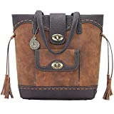 AMERICAN WEST BANDANA LADIES LEATHER GUNS AND ROSES BUCKET TOTE HANDBAG TAN