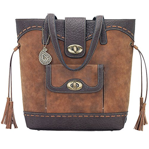 AMERICAN WEST BANDANA LADIES LEATHER GUNS AND ROSES BUCKET TOTE HANDBAG TAN by American West