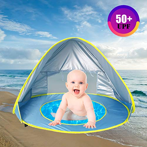 KCPer Baby Pool Tent Baby Beach Tent with Pool and Fluorescent Wristband 50+UPF UV Protection Sun Shelter for Infant Up Portable Shade Pool(US Stock)