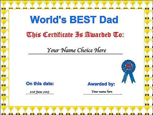 Novelty Personalised Father's Day Certificate A4 Edible Icing Cake Topper (Please leave personalisation as Gift Message) 5 - 10 BUSINESS DAYS DELIVERY FROM UK ()