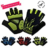 #2: MOREOK Shock-Absorbing Breathable Anti Slip Reflective Cycling Gloves Half Finger Outdoor Sport Bicycle Gloves Gel Padded Mountain Road Bike Riding Gloves for Men and Women