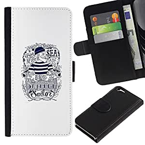 Paccase / Billetera de Cuero Caso del tirón Titular de la tarjeta Carcasa Funda para - Sailor Text White Ink Tattoo Captain - Apple Iphone 6 4.7