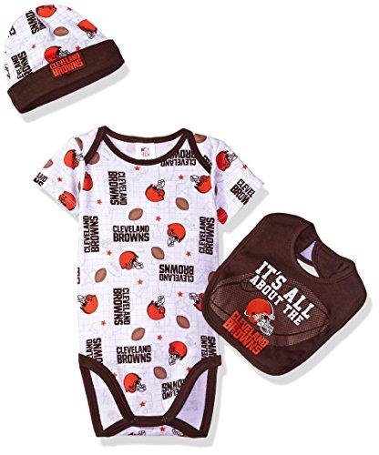 NFL Cleveland Browns Bodysuit, Bib & Cap Set, 3-6 Months, (Cleveland Browns Cap)