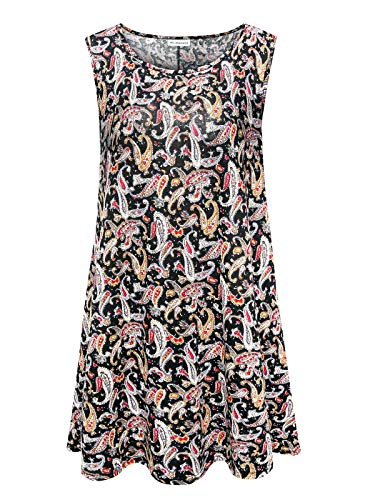 7th Element Plus Size Sleeveless Tunic Flare Flowy Tank Top for Women (Floral Print ()