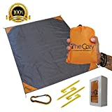 TheCozy Adventures Sand Free Compact Beach Blanket - Pocket Picnic Sheet For Outdoor Multiple Use | Best Mat For Travel & Festivals, Soft & Quick Drying With 4 Portable Hiking Sticks
