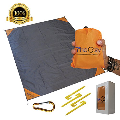 Outdoor Beach Blanket/Compact Pocket Blanket 55?x70? - Waterproof Ground Cover, Sand Proof Picnic Mat for Travel, Hiking, Camping, Festival, Sports - Durable With 4 Portable Hiking Sticks (Orange) (Earth Around Cozy Blanket)