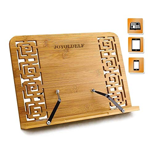 Joyoldelf Bambu soporte para Libro de cocina, plegable soporte con Respaldo ajustable & Patron elegante para Libro de cocin y Receta, iPad Air 2 3 4, Encender, Samsung y Tablet PC y mas