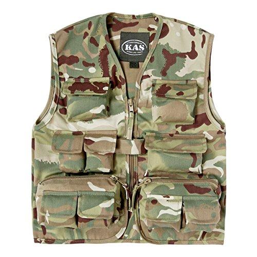 Kids Multicam Safari Vest, Hunting Vest, Kids Camo Gillet Vest, Ages 3 - 13yrs (Age 7-8) (Camouflage Vest)