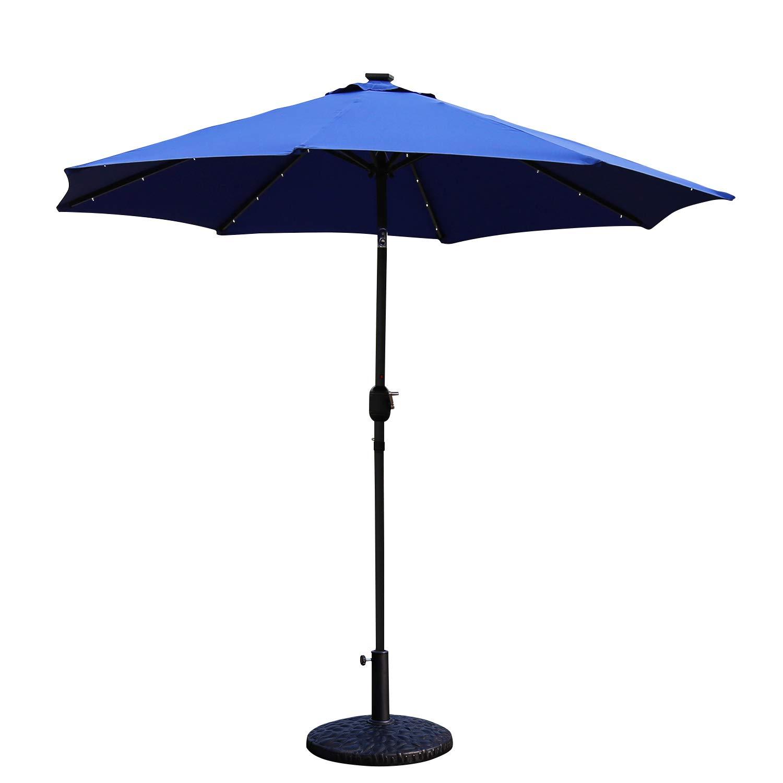 Peach Tree Sunbrella 9FT Round Patio Market Table Umbrella LED Double Top Outdoor Solar Power Lights Parasol with Push Button Tilt Crank Lift Mechanism, Blue by Peachtree Press Inc