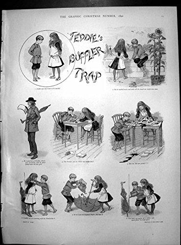 Antique Print of Teddie'S Buffler Trap Part 1 Tutor Lessons Filled Umbrella Colour 1890