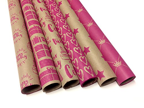 Kraft and Pink Wrapping Paper Set - 6