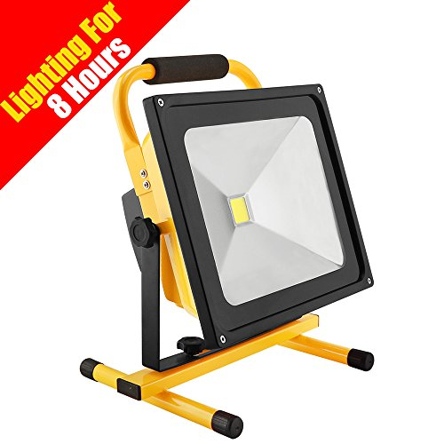 Eurus Home 8 Hr Super Bright Portable Led Work Light With Stand,Rugged Rechargeable Flood Light,Battery Powered 50W Outdoor Construction Work Lights For Camping Emergency,[Energy Class A+++]