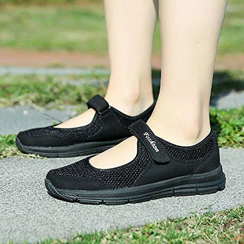 Verano para Gris Deportivos Running Negro Sneakers Mujer de Zapatos Negro Calzado Gimnasia Ligero Correr Malla para 35 de 42 Zapatillas qRwpFaPR