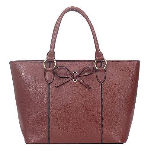 Ladies Faux Leather Bow Decoration Shopper Tote Bag Burgundy