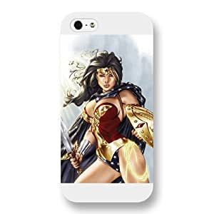 Onelee Wonder Women Custom Phone Case for iPhone 5 5S, DC comics Wonder Women Customized iPhone 5 5S Case, Only Fit for Apple iPhone 5 5S (White Frosted Shell)