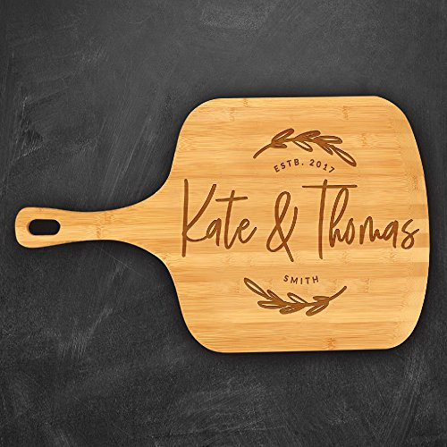 P Lab Personalized Pizza Peels, Names, Date & Last Name Custom Engraved Bamboo Pizza Board 23 1/2