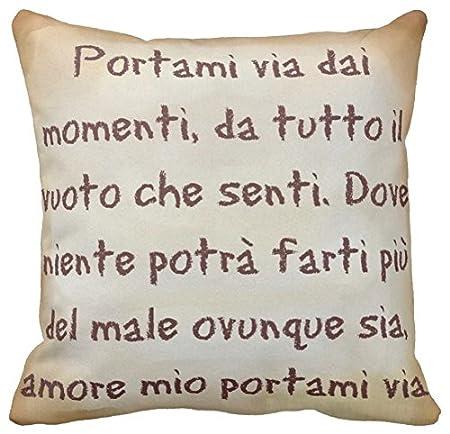 Pillow Pillow Cuscino Personalizzato 40x40 Frase Canzone