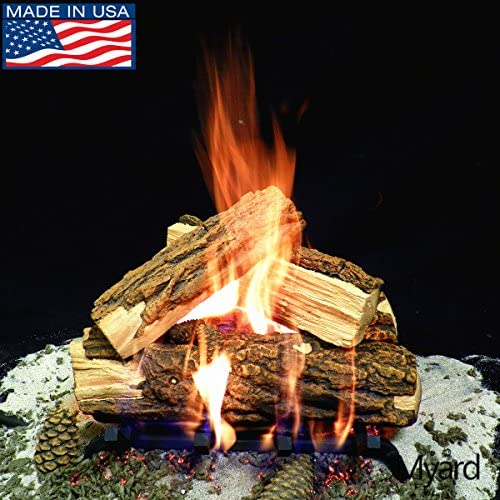 PayandPack Myard Deluxe 15 inches Country Split Fire Gas Logs LOGS ONLY for Natural Gas Liquid Propane Vented Fireplace