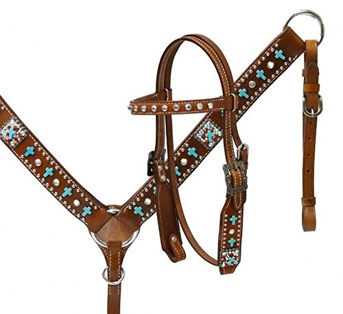 Showman Pony Leather Headstall and Breast Collar with Turquoise Colored Crosses ()
