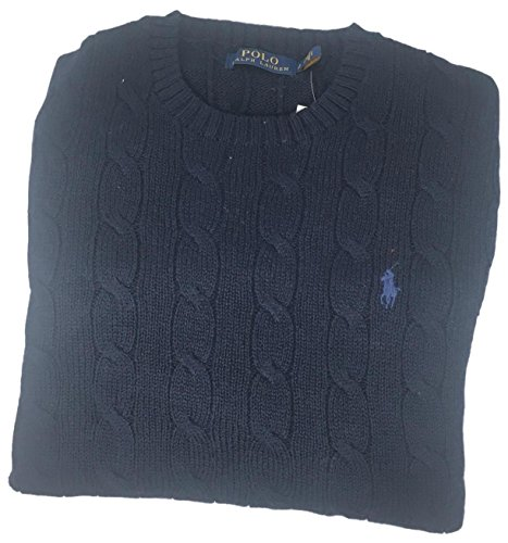 Polo Ralph Lauren Mens Cable Knit Crew Neck Sweater (Medium, Navy Blue) ()