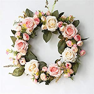 Littlefairy Delicate Rose Camellia Garland Door Decorated with Christmas Satin Flowers 115