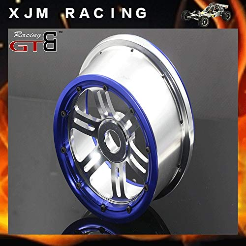 Hockus Accessories GTBRacing 2 Front and 2 Rear Wheel hub/Rim with beadlock Ring for 1/5 losi 5ive-T Rovan LT KM X2 - (Color: Blue)