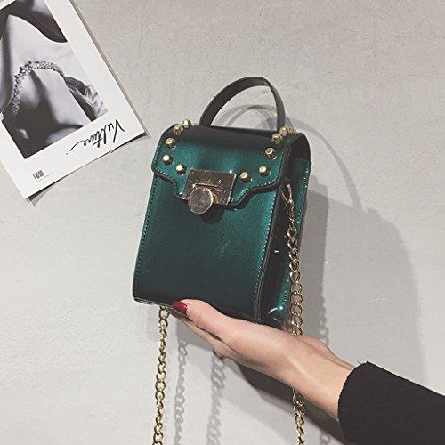 Roscloud@ Bolso cuadrado pequeño del bolso del teléfono móvil de la hebilla del bolso de la hebilla salvaje pequeña del bolso de mano ( Color : Verde ) Verde