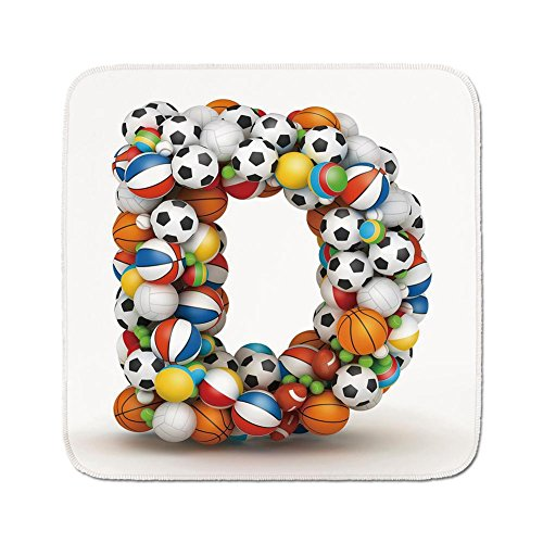 Cozy Seat Protector Pads Cushion Area Rug,Letter D,Typescript in Sports Inspired Style Fun Game Match Play Kids Boys Children Design Decorative,Multicolor,Easy to Use on Any - For Games Boys Butt