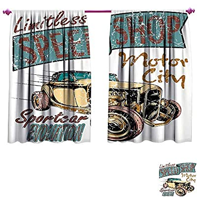 Cars Waterproof Window Curtain Limitless Speed Shop Advert with a Vintage Sports City Evolution Print Decorative Curtains for Living Room W55 x L39 Blue Grey Sand Brown Ruby