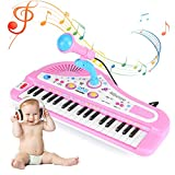 Vruping Kids 37-Key Electronic Keyboard, 2 in 1 Portable Kids Electronic Piano Keyboard with Microphone and Legs Educational Instrument Toy, Perfect Baby Children Gift