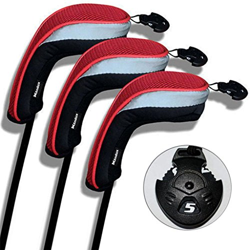 3 Pack Andux Golf Hybrid Club Head Covers Interchangeable No. Tag MT/hy01 Black & (Wood Club Head)