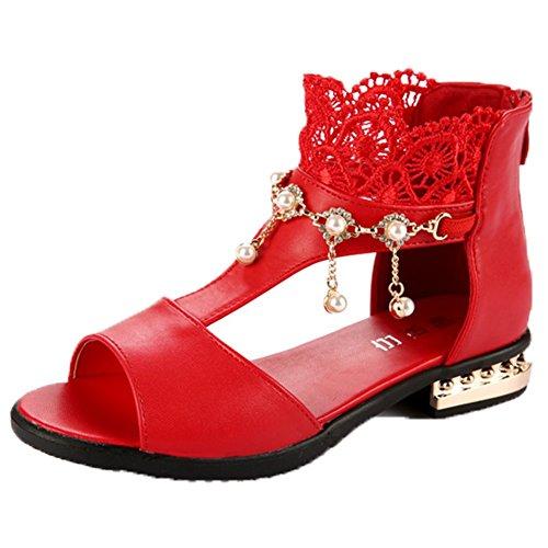 Ohmais Enfants Filles Chaussure cérémonie Ballerines à bride Fête Demoiselle d'honneur Mariage Escarpin à petit talon, Rouge, 33 CN