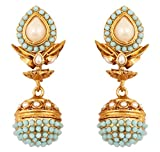 Touchstone Indian Bollywood Spherical Faux Pearls and Blue Faux Turquoise Bridal Designer Jewelry jhumki Earrings for Women Antique Gold Tone