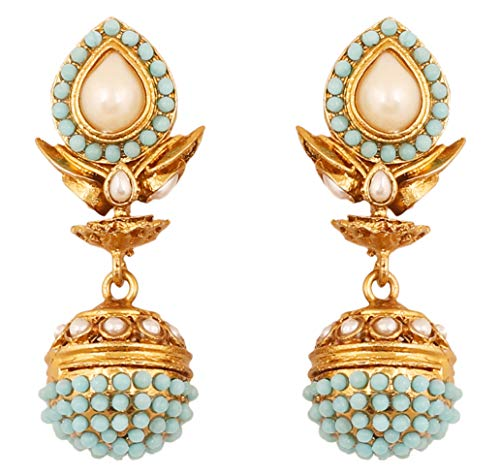 Indian Designer Earrings (Touchstone Indian Bollywood Spherical Faux Pearls and Blue Faux Turquoise Bridal Designer Jewelry jhumki Earrings for Women Antique Gold Tone)