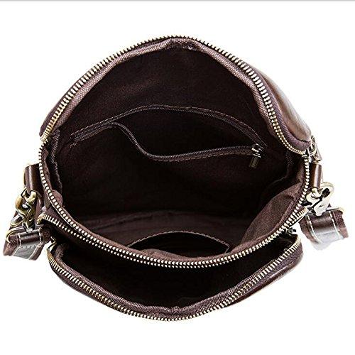 MeiliYH Hombre de Cuero Henuino Mensajero Bolsa de Negocios de ocio Bolsa de Hombro Bolso de Cremallera Vertical para los Hombres (marrón claro) marrón claro