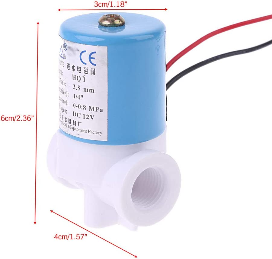 Ycncixwd G1//4 /Électrovanne en Plastique normalement ferm/ée 2 Voies 12 V DC 0-120 PSI