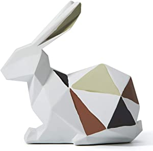 HAUCOZE Statue Sculpture Rabbit Figurine Geometric Animal Decor for Home Gifts Souvenirs Giftbox Resin 18.5cmH