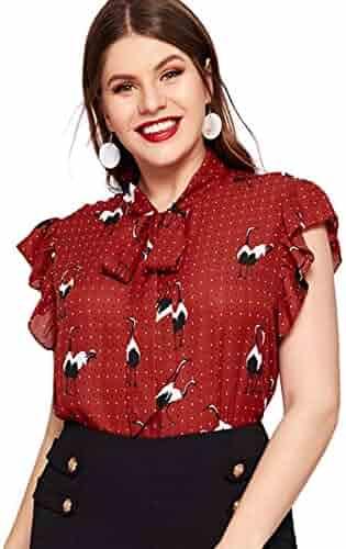 7746b8fe116340 Romwe Women's Plus Size Bow Tie Neck Short Sleeve Casual Wear to Work Blouse  Tops