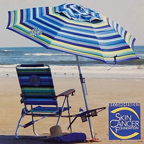 Tommy Bahama 2018 Sand Anchor 7 feet Beach Umbrella with Tilt and Telescoping Pole Blue Floral
