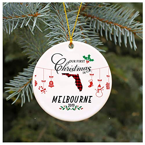 Our First Christmas In Melbourne Florida Gift Unique Xmas Ornament Ceramic Housewarming Gift For New House Gift Tree Decoration Long Distance Relationship 3