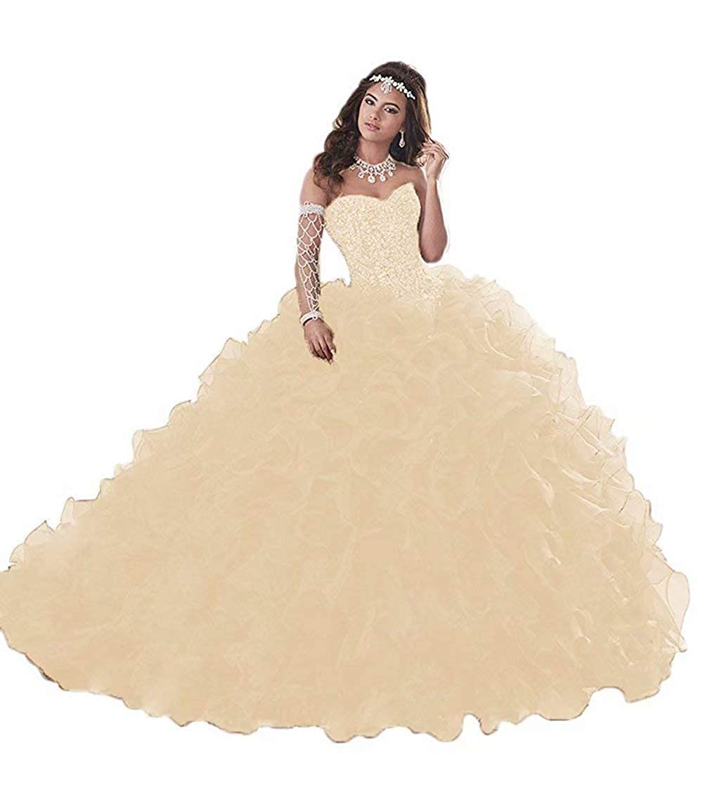 Champagne Wanshqin Women's Heavy Beaded Organza Ruffle Quinceanera Dresses Sweetheart Prom Ball Gowns