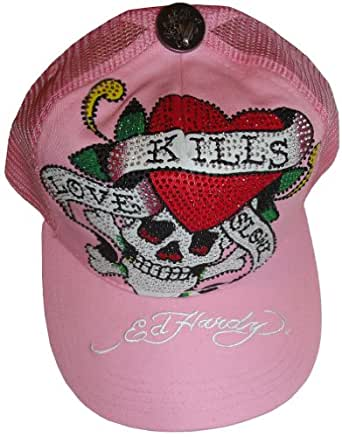Women's Ed Hardy Hat Ball Cap Love Kills Slowly Embellished with Stones Pink