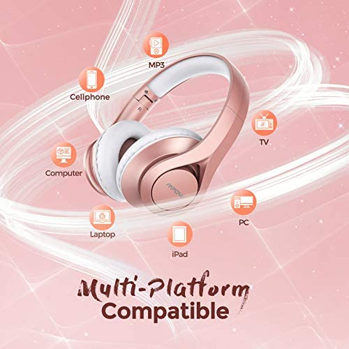 Bluetooth Headphones Over Ear, Mpow 60 Hours Playtime Pink Wireless Headphones with Microphone, Bluetooth 5.0, Stereo Sound, Protein Earpads, Wired Wireless Headset for Girls, Women, Kids, Adults, TV