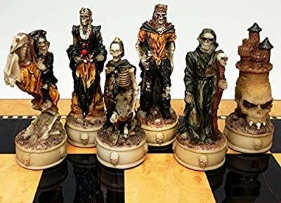 Skeleton Slayer Fantasy Gothic Skull Chess Men Set - NO BOARD
