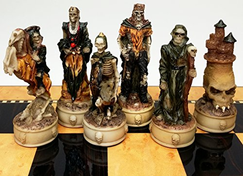 Skeleton Slayer Fantasy Gothic Skull Chess Men Set - NO - Polyresin Piece Chess