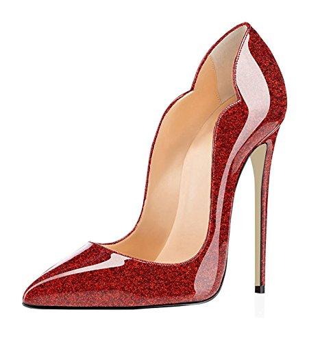 Edefs Ladies Scarpe A Punta Tacco 120mm Tacco Alto Pompe Tacchi Alti Scarpe Da Sera Chiuse Scintillanti Rosso