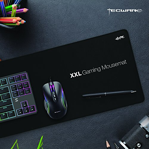 (TECWARE Haste XXL Anti Slip Natural Rubber, High Density Surface, Water Resistant Extended Gaming Mousemat)