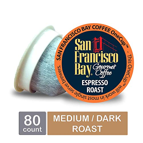 San Francisco Bay OneCup, Espresso Roast, Single Serve Coffee K-Cup Pods (80 Count) Keurig - Coffee Pods Espresso
