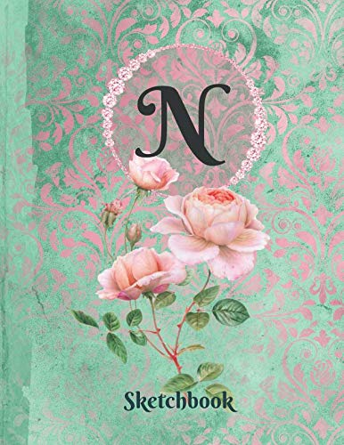 Basics Sketchbook For Drawing - Personalized Monogrammed Letter N: Framed White Pages Drawing Notebook of Green and Pink Damask Lace with Roses on Glossy Cover
